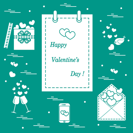 smartphone: Cute vector illustration: calendar with Valentine�s Day, gifts, postal envelope, two stemware, smartphone, birds with hearts. Design for banner, flyer, poster or print.