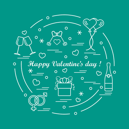 mobile device: Cute vector illustration: gifts, balloons, stemware, keys, gender symbols, bottle with hearts and snowflakes arranged in a circle. Design for banner, flyer, poster or print.