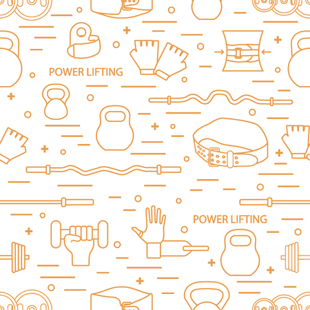 Vector pattern on the sports theme. Different goods for weightlifting. Series of Sporting Patterns.