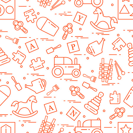 Cute seamless pattern with variety of childrens toys: rocking horse, cubes, rattle, pyramid, sorter and other. Design for poster or print.