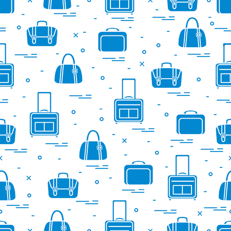 collect: Cute seamless pattern with different bag and suitcases for travel. Summer time, vacation. Design for banner, poster or print.
