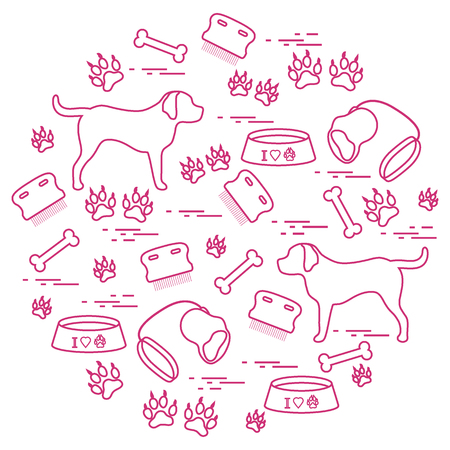 Cute vector illustration goods to care for dogs arranged in a circle.  Health care, vet, nutrition, exhibition. Design for banner, poster or print.