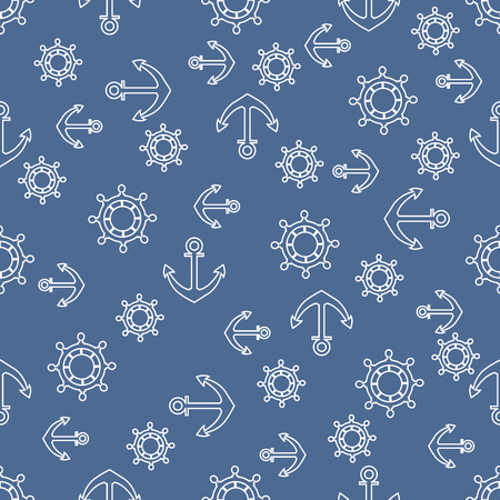 Cute seamless pattern with steering wheels and anchors. Marine theme. Design for poster or print.