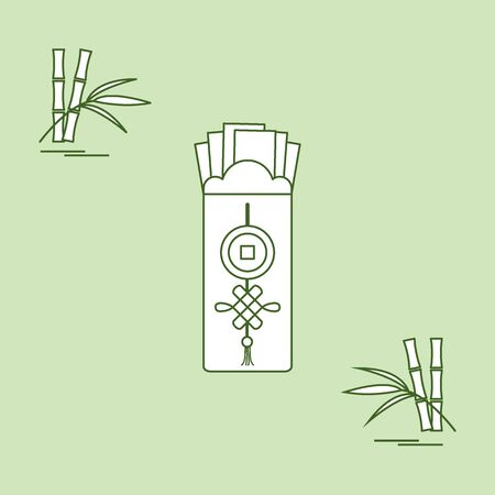 lucky bamboo: Chinese red envelopes of money and bamboo. Design for banner, poster or print.