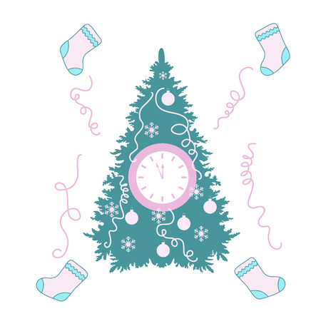 Christmas tree, christmas socks, snowflakes, ball, streamers and clock with arrows showing a few minutes until midnight. Design for postcard, banner, poster or print.