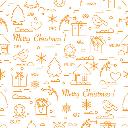 Cute vector pattern of different new year and christmas symbols. Winter theme. Design for postcard, banner, poster or print.