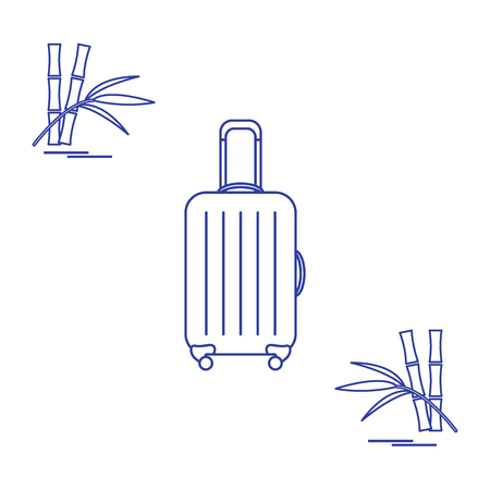 collect: Vector illustration of suitcase for travel and bamboo. Summer time, vacation. Design for banner, poster or print. Illustration