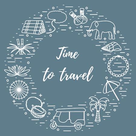 Elementi di vacanza e viaggi organizzati in un cerchio. Elephant, bambù, shell, palma, tuk-tuk, durian, collana di perle e altri.