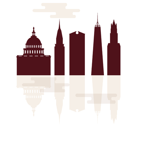 Silhouettes of famous buildings and modern buildings in the USA. Tall buildings and skyscrapers.