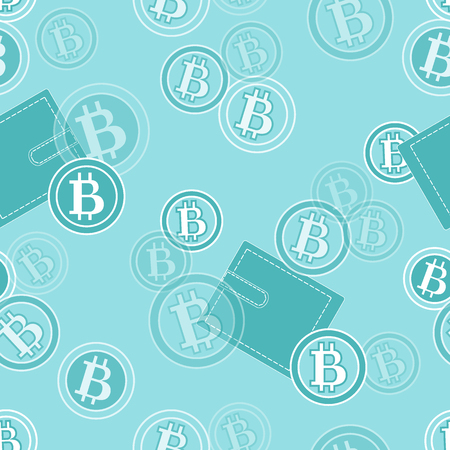 Seamless pattern with purses and bitcoins. Finance and virtual currency. Design for banner, poster or print. Illustration