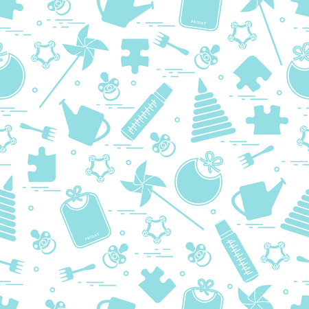 Cute seamless pattern with variety childrens goods and toys.
