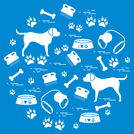 Cute vector illustration goods to care for dogs arranged in a circle. Illustration