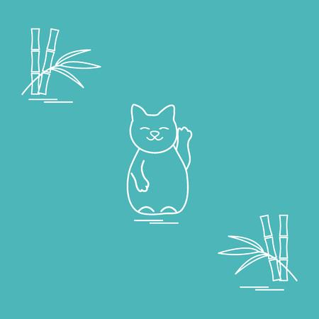 Stylized icon of japanese lucky cat Maneki Neko. Travel and leisure. Design for banner, poster or print. Illustration