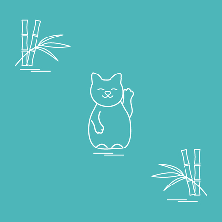 Stylized icon of japanese lucky cat Maneki Neko. Travel and leisure. Design for banner, poster or print. Ilustração