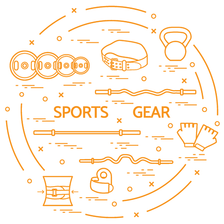 Different goods for weightlifting arranged in a circle. Illustration on the sports theme. Illustration