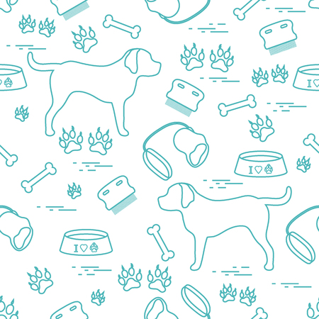Cute seamless pattern with dog silhouette, bowl, traces, bone, brush, collar, leash. Design for poster or print. Illustration