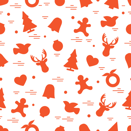 Cute Pattern Of Different New Year And Christmas Symbols Winter
