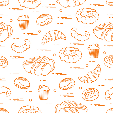 Pattern of different bakery products (bun, cheesecake, cupcake, croissant and other). Illustration