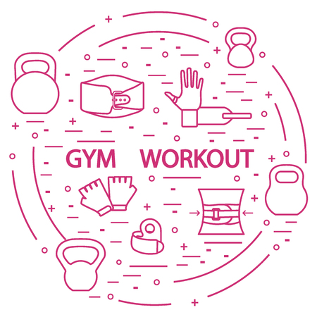 Powerlifting gym workout elements arranged in a circle. Illustration