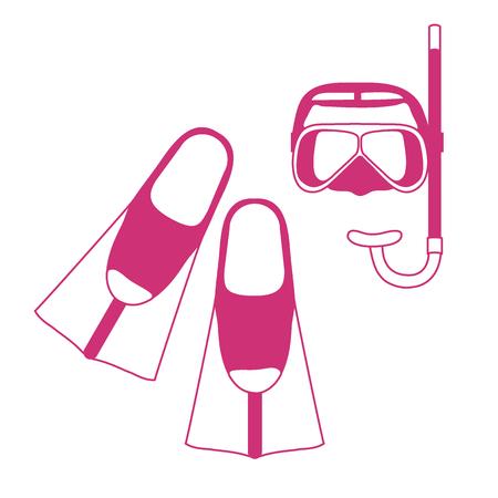 flippers: Icono estilizado de una máscara de color, tubo y aletas para un buceo. Vectores