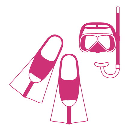 flippers: Stylized icon of a colored mask, tube and flippers for a scuba diving. Illustration