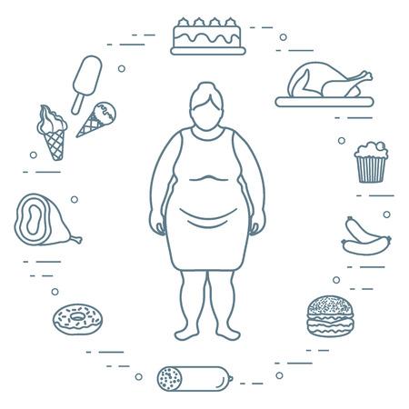 Mujer gorda con símbolos de estilo de vida poco saludables a su alrededor.