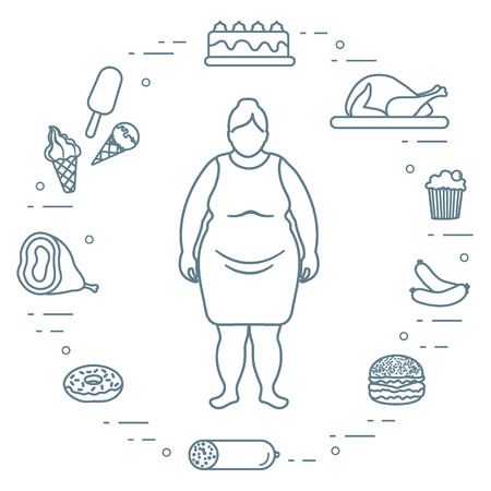 Fat woman with unhealthy lifestyle symbols around her. Illustration