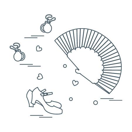 スペインのダンス文化のさまざまなシンボルのイラスト。