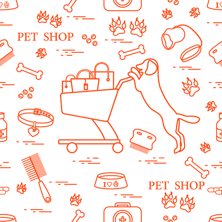 Repetitive pattern: dog, bowl, shopping cart with gift bags, traces, bone, brush, collar, first aid kit; Health care, vet, nutrition, exhibition illustration. Illustration