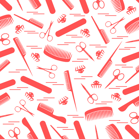 Cute pattern of scissors for manicure and pedicure, combs, nail file, barrettes Design for banner, poster or print.
