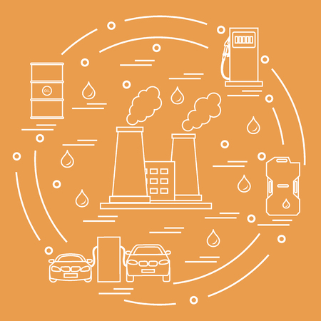 Cute Outlined illustration of refinery plant with smoking chimneys, canister of gasoline, barrels with oil, petrol station with two cars arranged in a circle Design for poster or print.