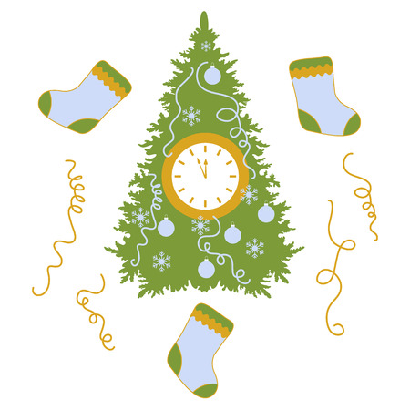 Christmas tree and socks icon.