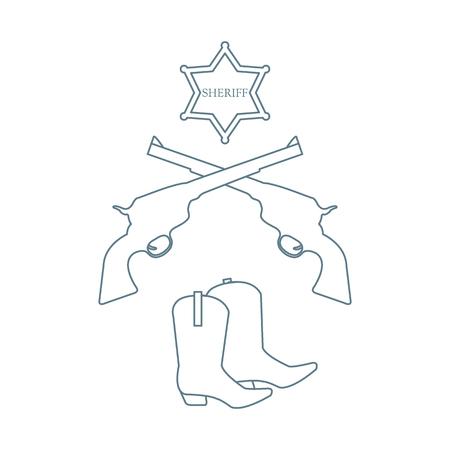 Illustration of sheriff star, revolvers Colt and cowboy boots. Çizim