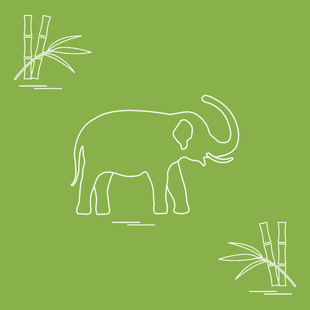 Stylized icon of elephant and bamboo. Design for poster or print. Ilustrace