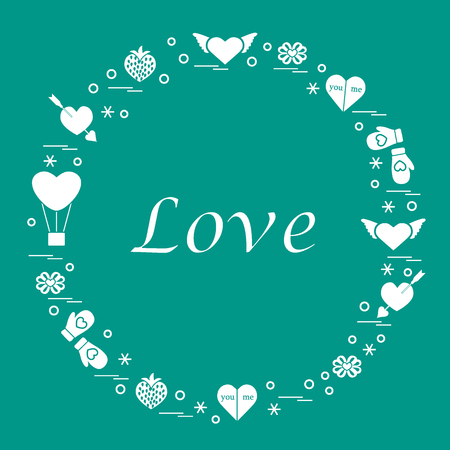 Cute illustration with different romantic symbols arranged in a circle.