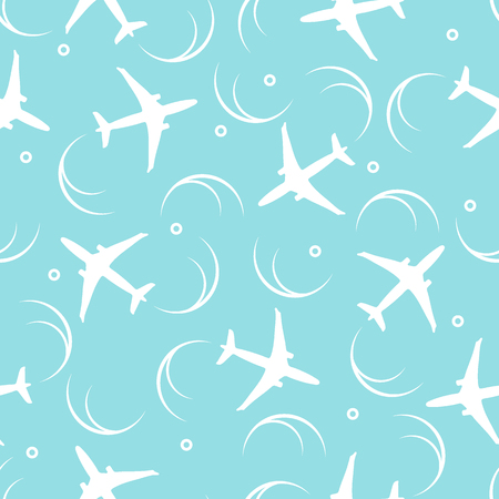 Cute pattern with planes and traces of the plane. Design for poster or print. Illustration