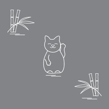 Stylized icon of lucky kitten Maneki Neko design for banner, poster or print.