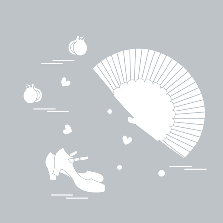 famous actor: Illustration with various symbols of dance culture of Spain.