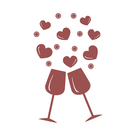 Cute illustration of two stemware with hearts. Design for banner, poster or print.