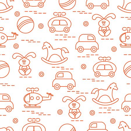 Pattern with variety of childrens toys Illustration