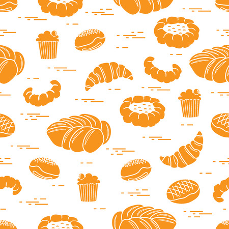 Pattern of different bakery products Illustration