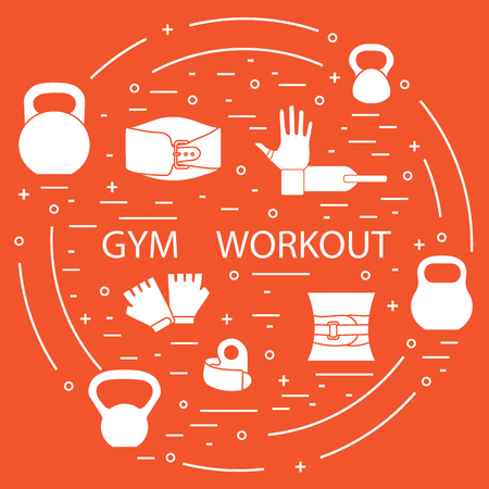 Power lifting gym workout elements arranged in a circle