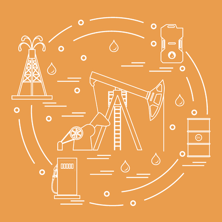 Cute illustration of the equipment for oil production.