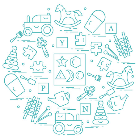 Illustration with variety of childrens toys arranged in a circle.