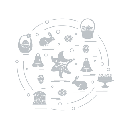 Illustration with different symbols for Easter arranged in a circle.