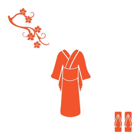 Cute illustration of branch of cherry blossoms and traditional japanese clothing and shoes. Illustration