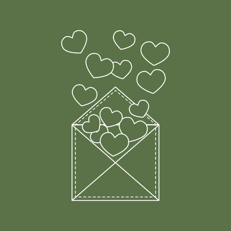 Cute vector illustration of postal envelope with hearts. Illustration