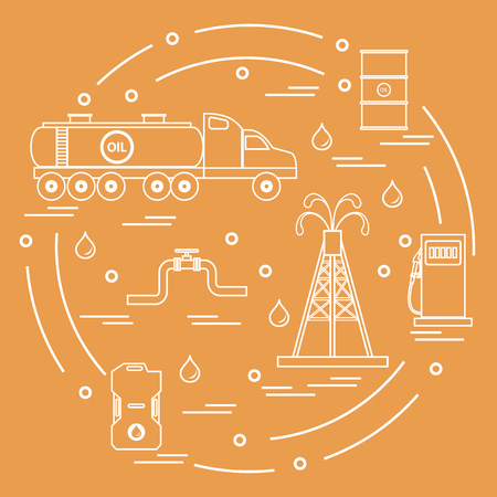 filling station: Cute vector illustration of  oil tanker, equipment for oil production, canister of gasoline, barrels with oil, gas station arranged in a circle. Design for poster or print. Illustration