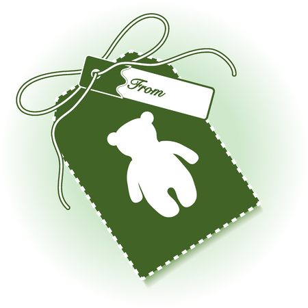 New year and christmas gift tag with toy bear and ribbon. Design for postcard, banner, poster or print. Illustration