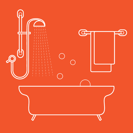 Cute vector illustration of  bathroom interior design: shower, bath, soap bubbles,  towel hanging on holders. Design for poster or print.
